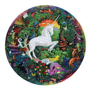 Completed puzzle of a white unicorn rearing up in the center of a colorful garden with animals
