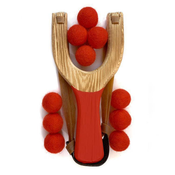 Classic Wooden Slingshot - Red