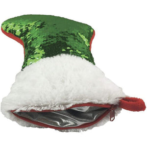 Holiday Stocking & Storage Pillow - Reversible Red and Green Sequins