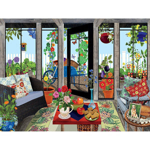 Image of puzzle by artist, Tracy Flickinger, depicts a lovely sunroom that opens up to a garden full of flowers