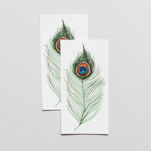 Peacock Feather By Berkley Illustration - Tattoo - Set of 2