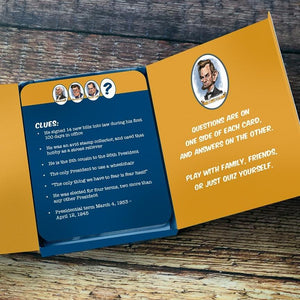 the presidents trivia cards open box with sample questions and clues