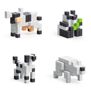 Story Series - Black & White Animals - 195 magnetic blocks in 4 colors