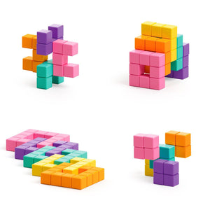 Abstract Series - Neon - 60 magnetic blocks in 5 colors