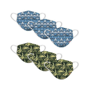 KIDS FUN MASKS - SHARK FRENZY & DINO CAMO DESIGNS -  (6-PACK)