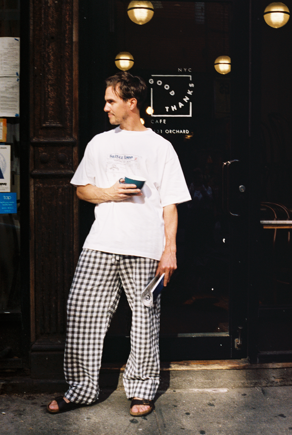 HOMME Gingham Check Long Pants