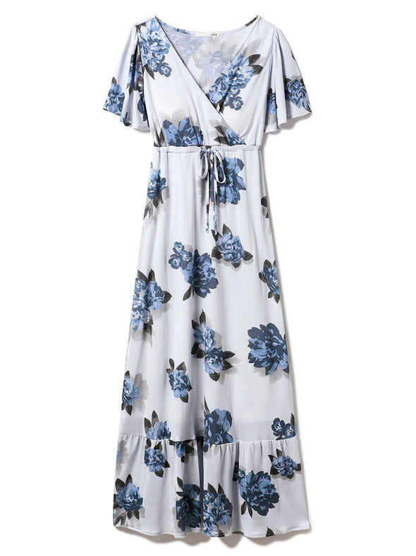Shadow Flower Pattern Short-Sleeve Dress