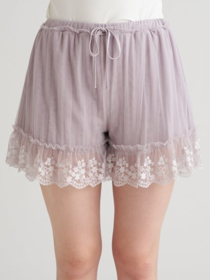 【Mucha and The Lady of the Camellias】 Star Lace Shorts