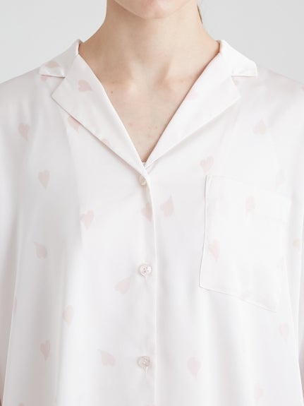 【CHERRY BLOSSOM FAIR】Petal Mothief Satin Shirt
