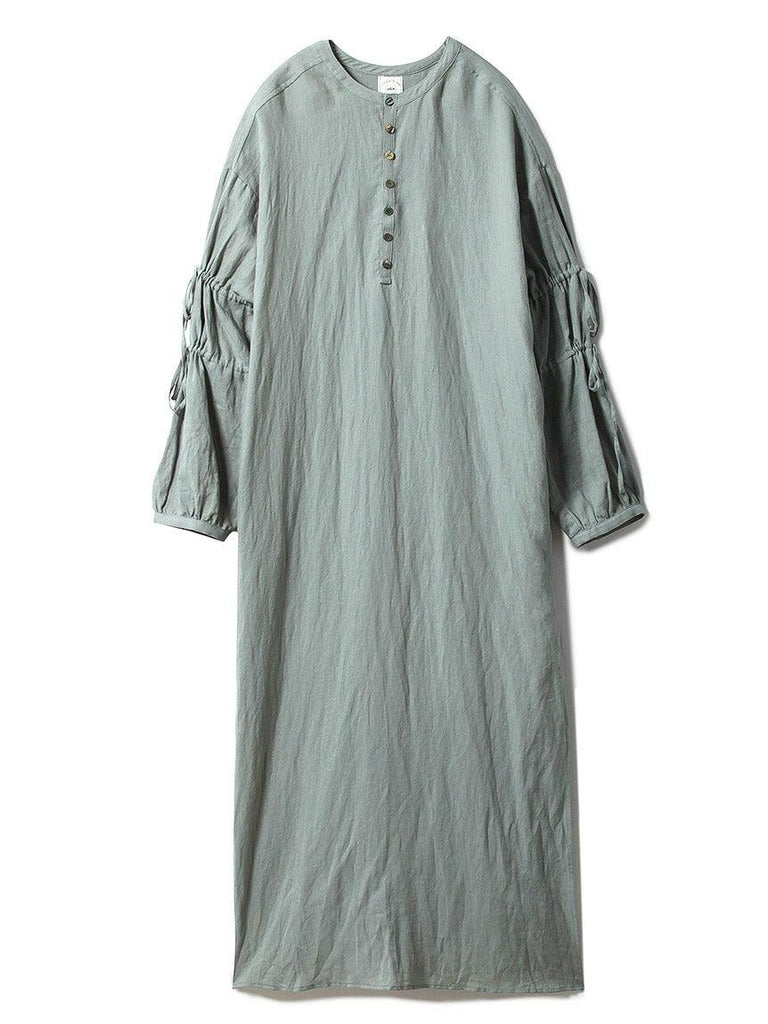 Cotton Linen Stripe Dress (PWFO191361)