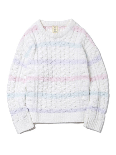 Soufflé Striped Aran Pullover