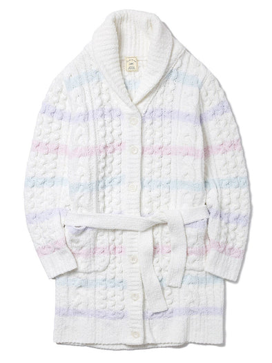 Soufflé Striped Aran Long Cardigan