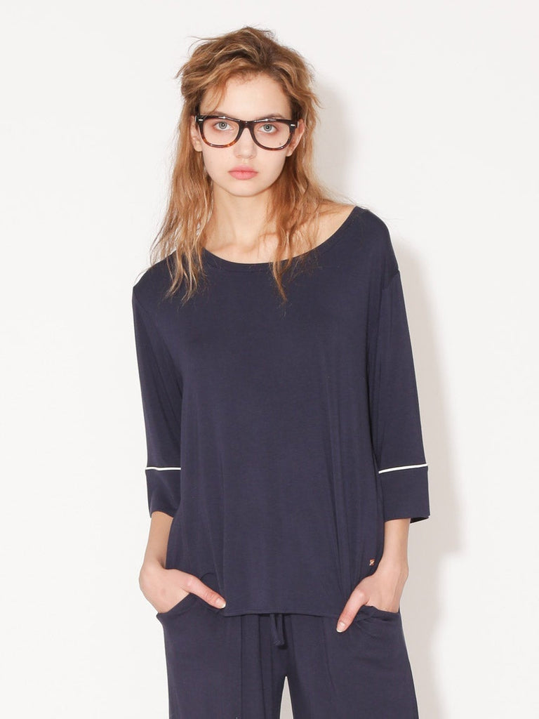 Mixed Silk Fabric Pullover (PWCT182264)