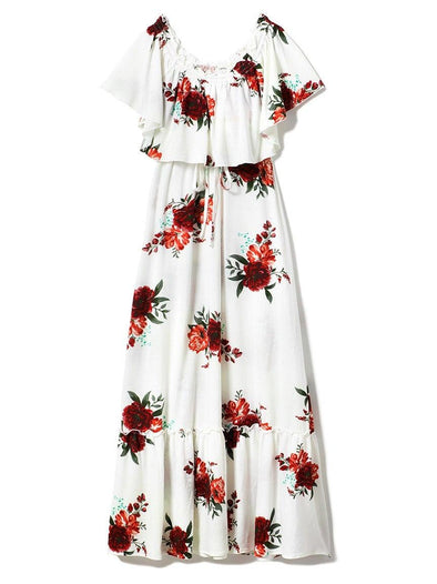 Flower Bouquet Off-the-Shoulder Dress