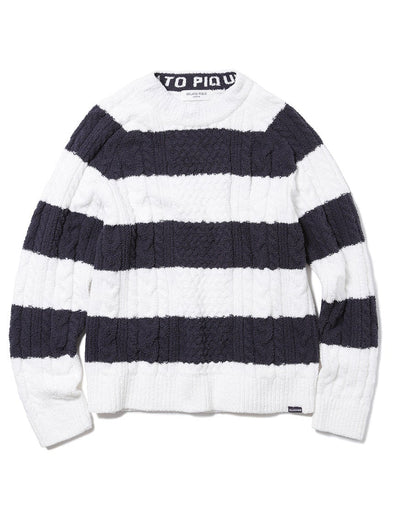 HOMME Striped Aran Pullover