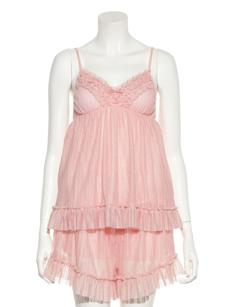 Pleated Tulle Camisole with Built-in Bra (PWCT185371)