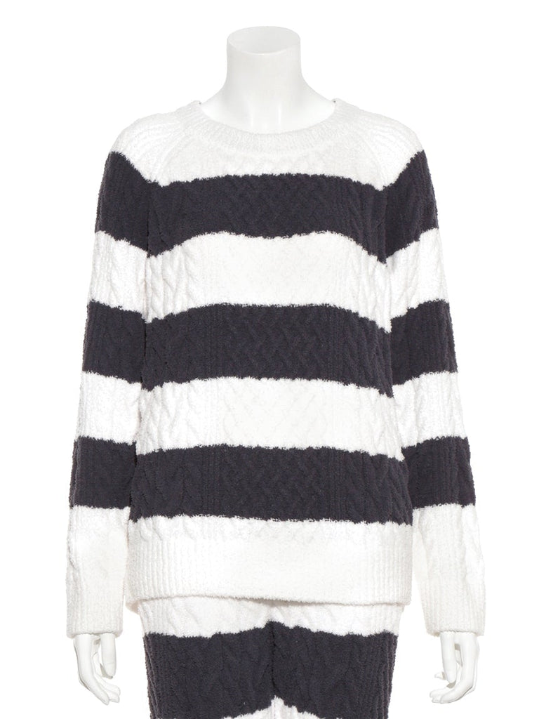 Striped Aran Pullover  (PWNT185007)