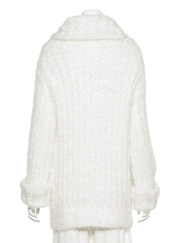 Feather Ribbed High Neck Pullover
