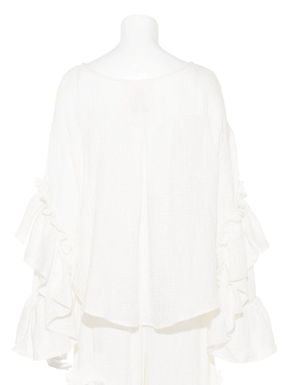 【10th】Double Gauze Frill Pullover  (PWFT185363)