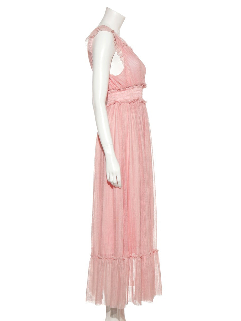 Pleated Tulle Long Dress (PWCO185373)