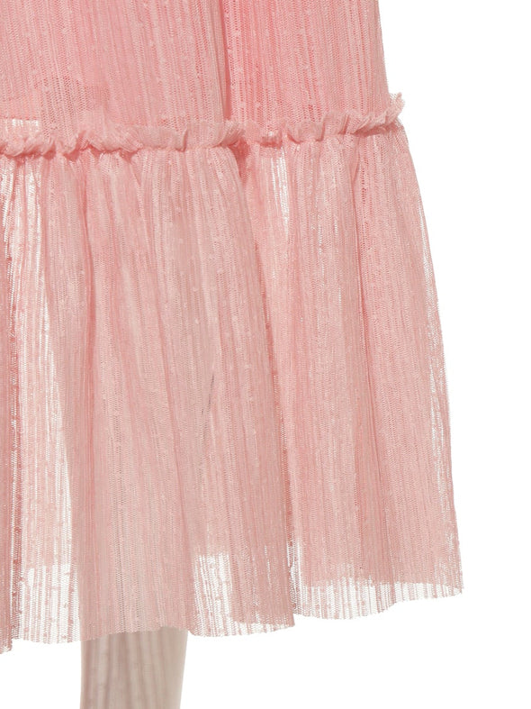 Pleated Tulle Long Dress