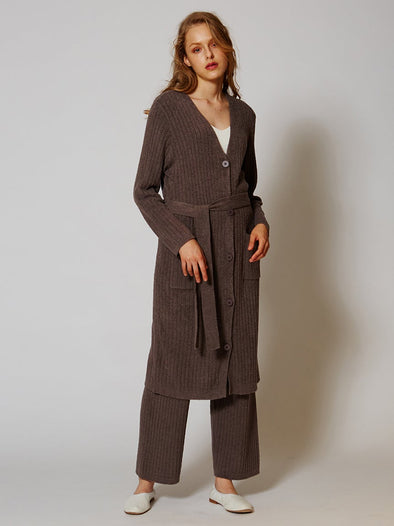 Hot Smoothie Ribbed Long Cardigan