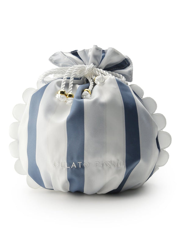 Scalloped Stripe Drawstring Pouch