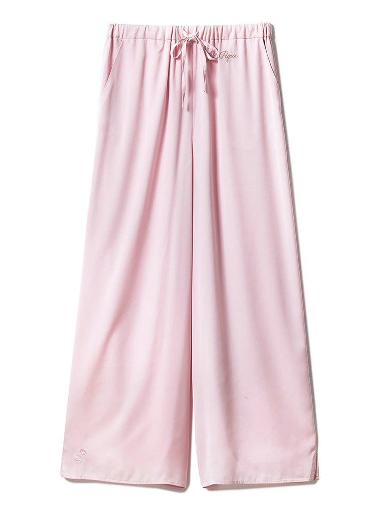 Cherry Blossom Embroidery Satin Long Pants (PWFP191271)