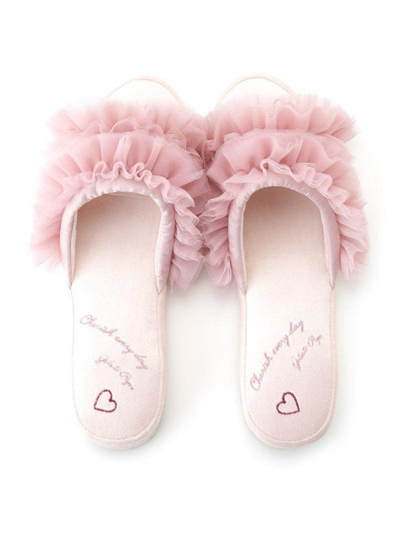 Embroidery Tulle Slippers (PWGS191620)