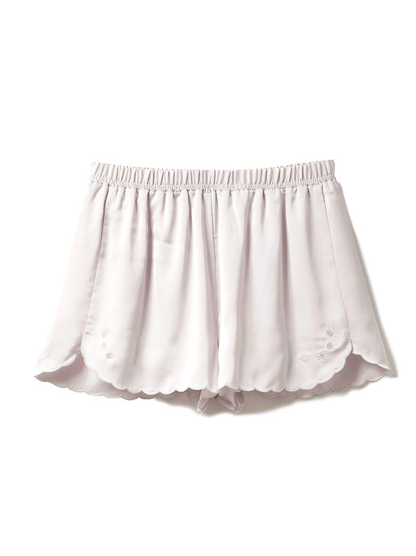 Scalloped Rose Satin Shorts
