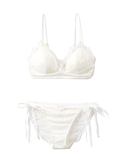 【Mucha and The Flowers】Lily Lace Bra & Shorts