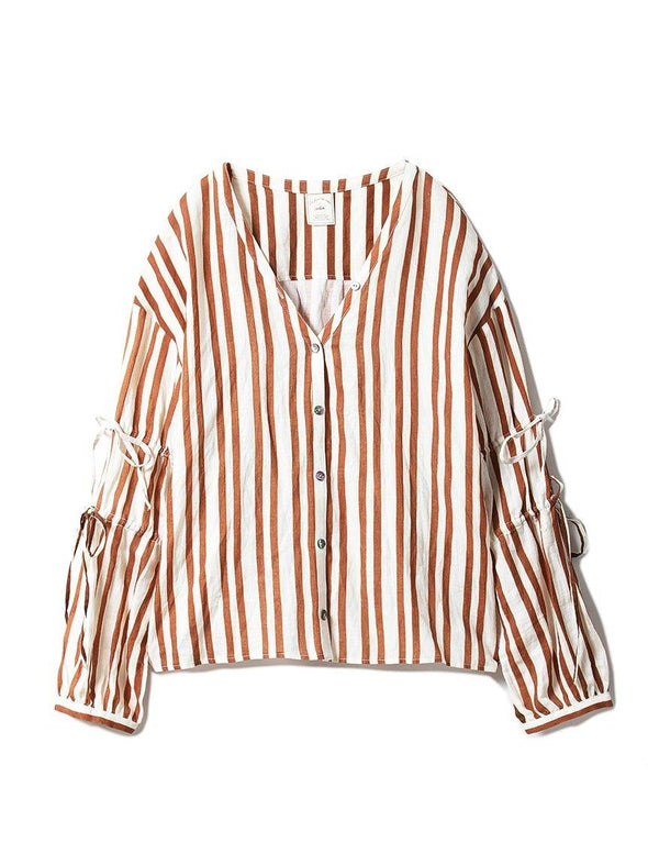Cotton Linen Stripe Shirt (PWFT191359)