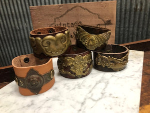 Vintage Sarabeth Leather Cuff Bracelets with Vintage Hardware