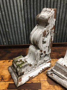 Pair of Reclaimed White Wooden Corbels