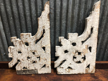 Pair of Thin Reclaimed Wooden Corbels- White