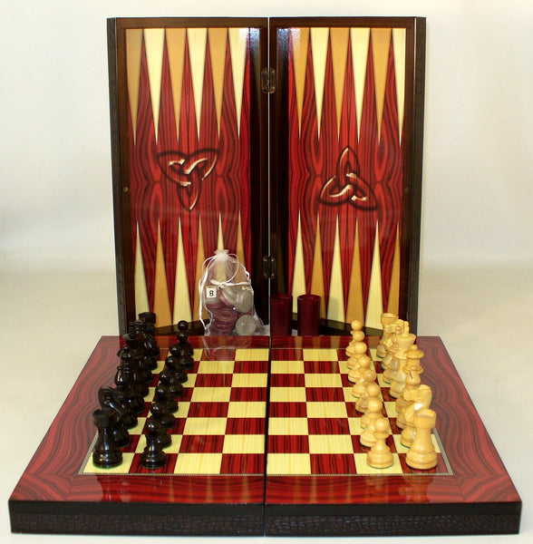 "19.75"" Red Decoupage BG & Chess"