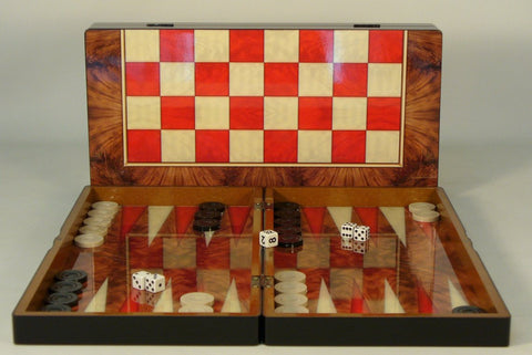 Red Burlwood Decoupage Backgammon