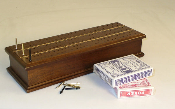 Inlaid Cribbage Box with Cards