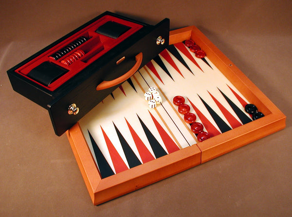 Red & Blk Wood Flat Backgammon
