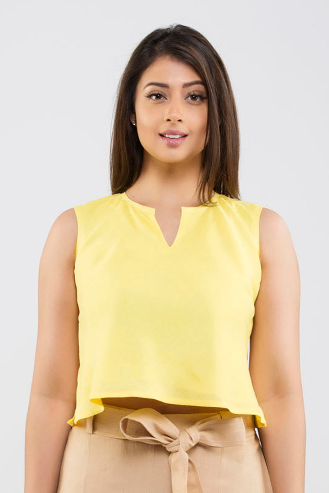 Linen Sleeveless Top <br> ( Primrose Yellow )