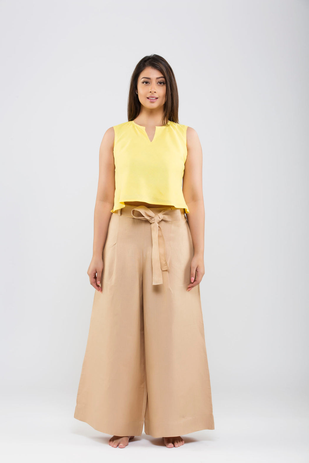 Linen Flared Pants<br>(Hazelnut)