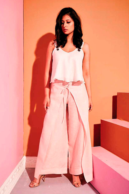 Wrap Style Self-Tie Linen Trouser <br> (Millennium Pink Rose Quartz)