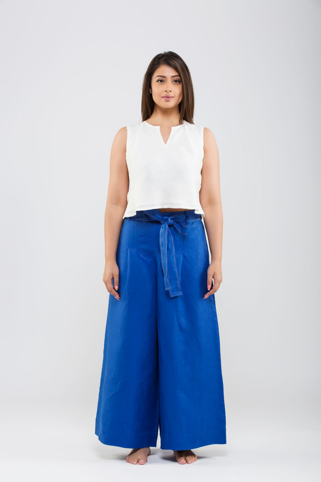 Linen Flared Pants<br>(Lapis Blue)