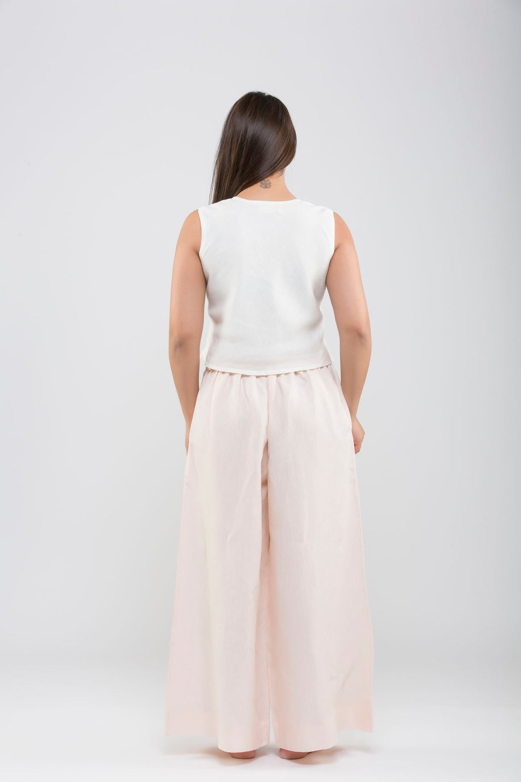 Linen Flared Pants<br>(Pale Dogwood Peach)