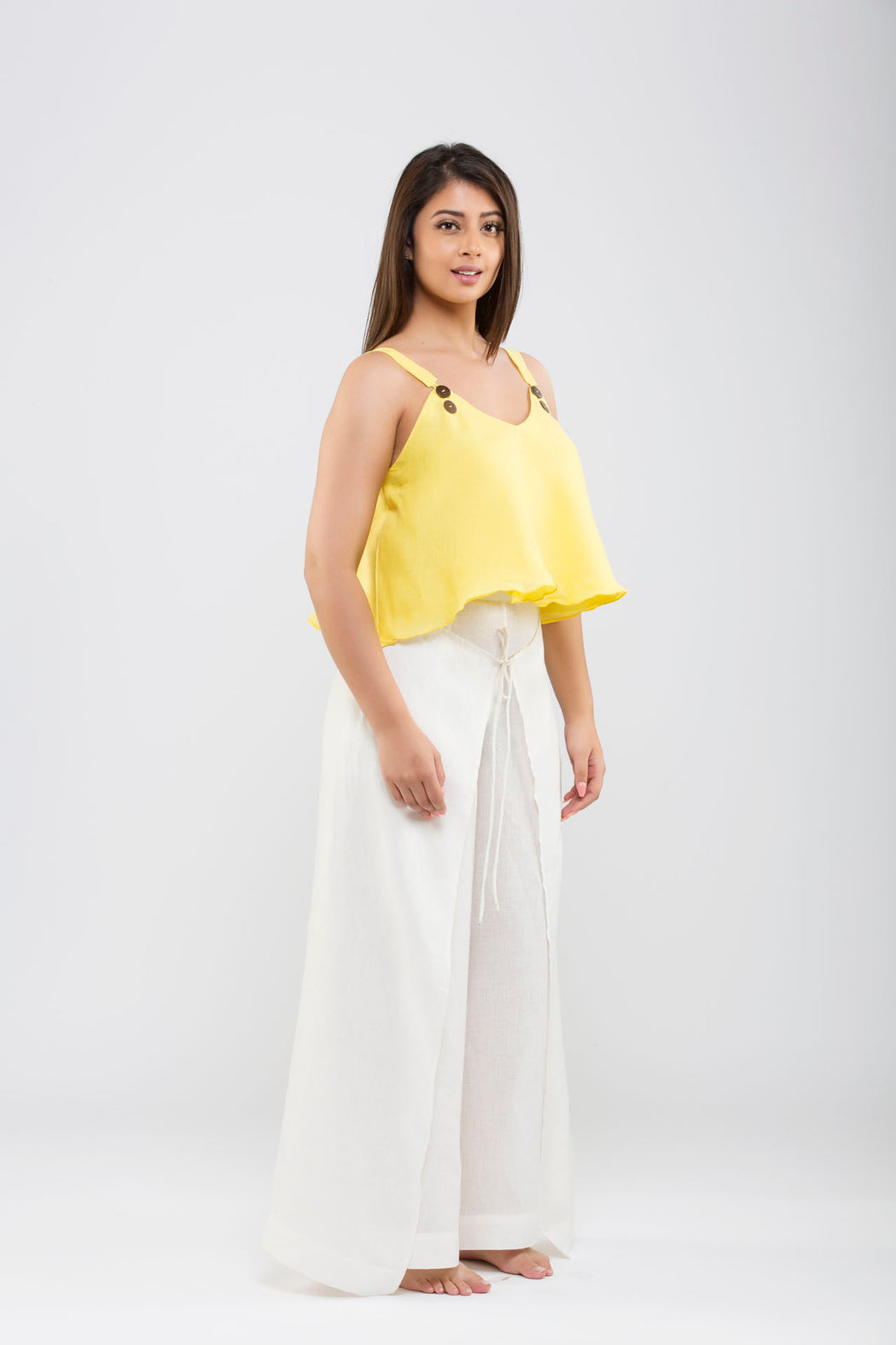 Wrap Style Self-Tie Linen Trouser <br> (Cloud Dancer - Off - White)