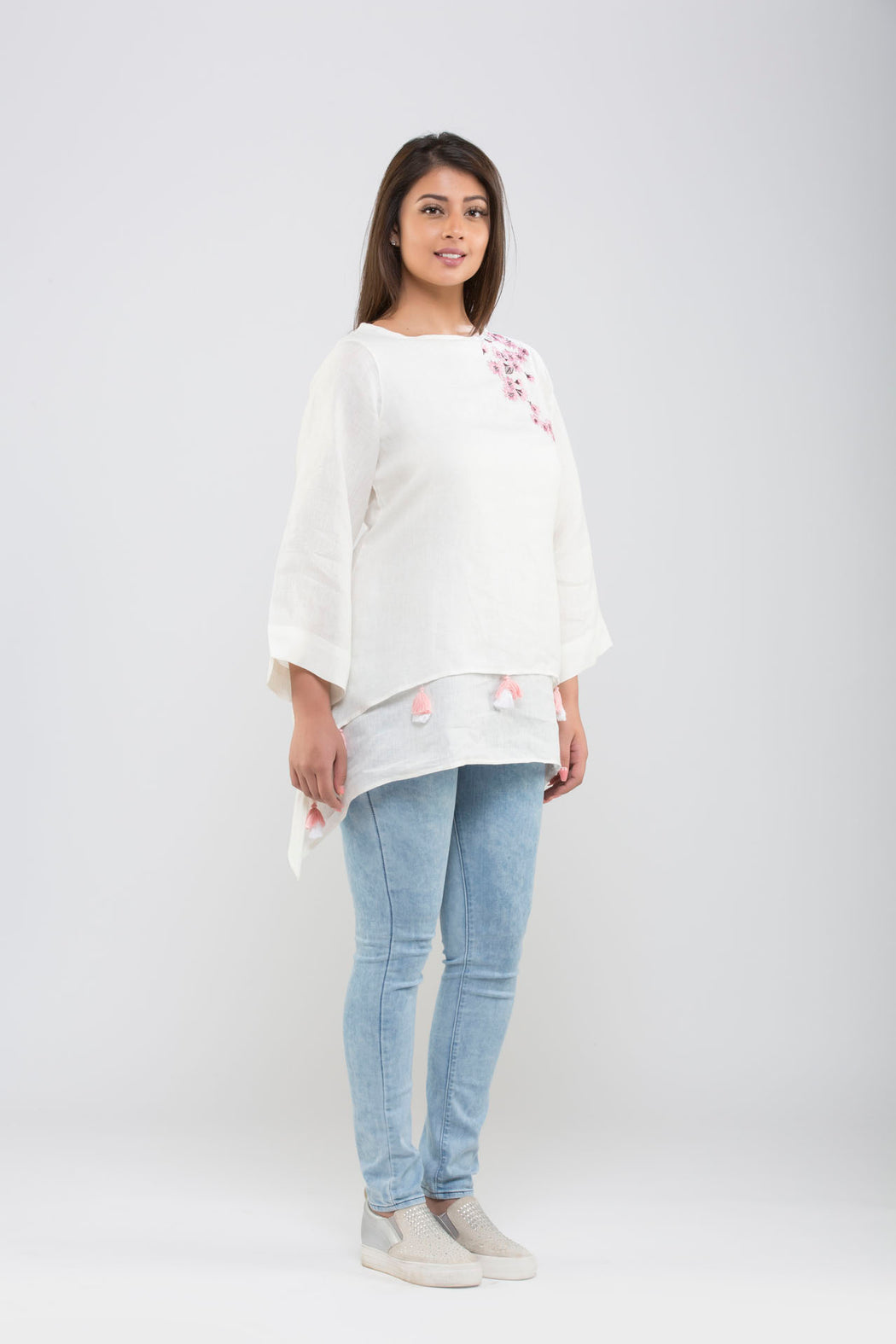 Linen Double Layered Top with Embroidery<br>(Cloud Dancer)