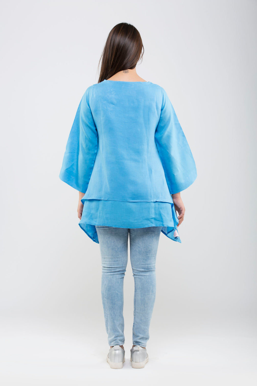 Linen Double Layered Top with Embroidery<br>(Marina Blue)