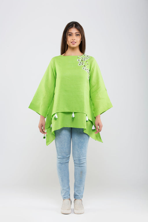 Linen Double Layered Top with Embroidery<br>(Greenery - Lemon Green)