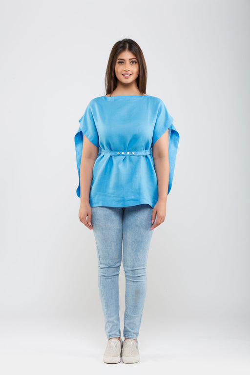 Linen Kimono Top With Belt <br> (Marina Blue)