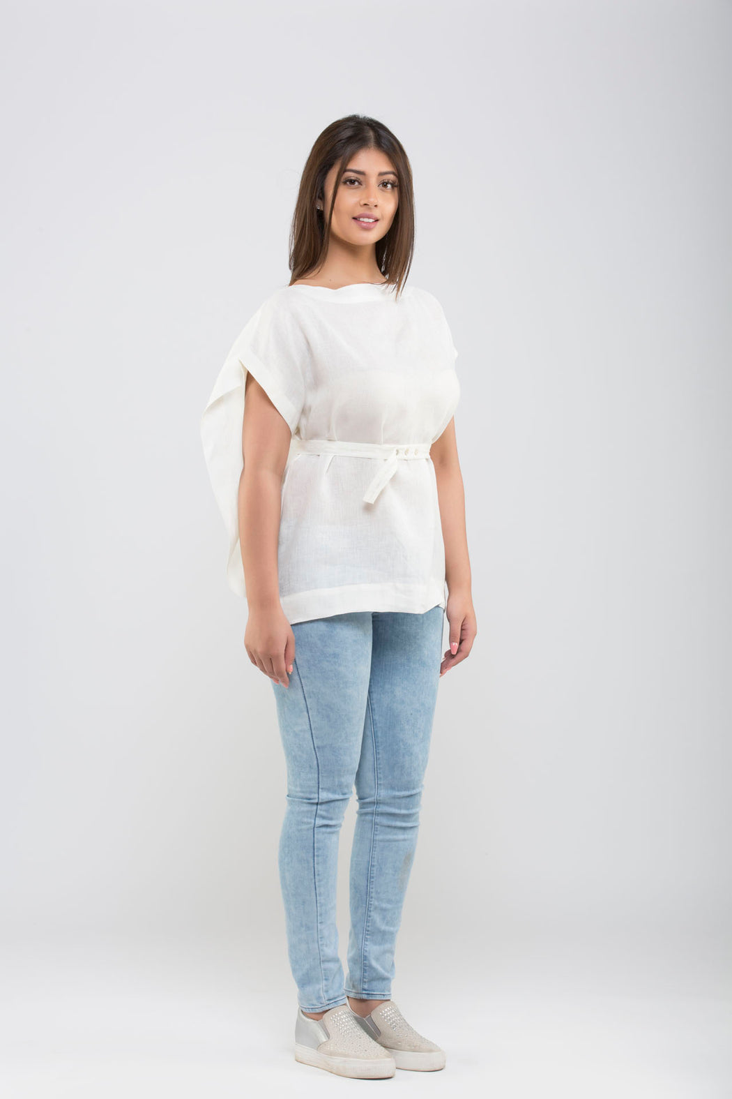Linen Kimono Top With Belt <br> (Cloud Dancer - Off White)